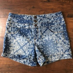 High Waisted Printed Jean Shorts size 12